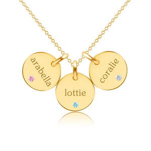 14k Gold Circle Necklace - 3 Names With Birthstones
