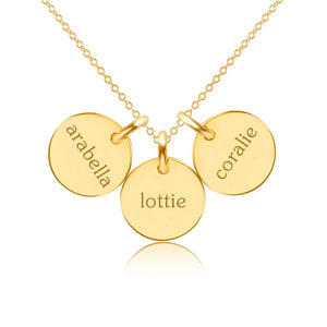 Gold Circle Necklace - 3 Names