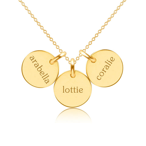 14k Gold Circle Necklace - 3 Names