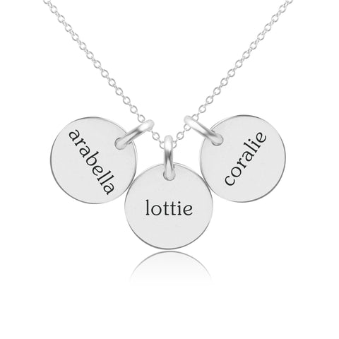 Image of Sterling Silver Circle Necklace - 3 Names