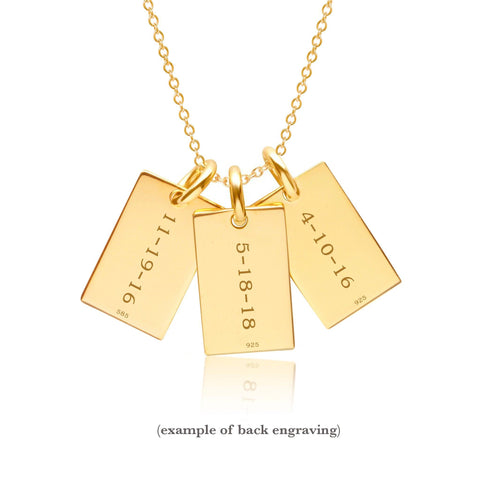 Gold Mini Dog Tag Necklace - 3 Names