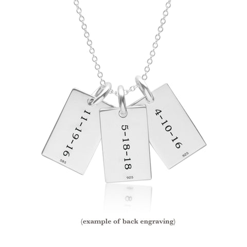 Image of Sterling Silver Mini Dog Tag Necklace - 3 Names