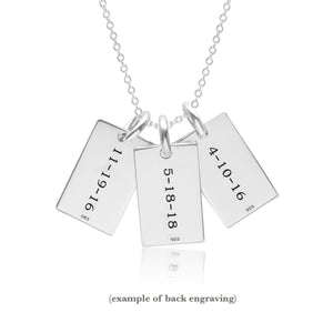 Sterling Silver Mini Dog Tag Necklace - 3 Names