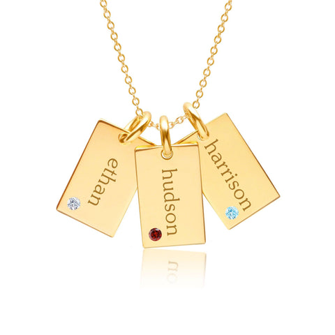 Gold Mini Dog Tag Necklace - 3 Names With Birthstones