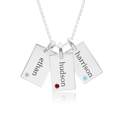 Image of Sterling Silver Mini Dog Tag Necklace - 3 Names With Birthstones
