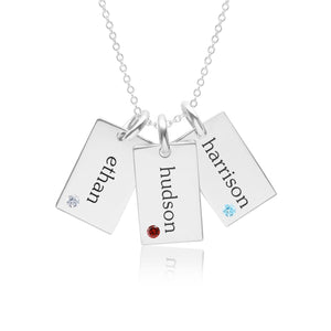 Sterling Silver Mini Dog Tag Necklace - 3 Names With Birthstones