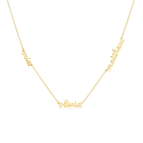 Gold Script Nameplate Necklace - 3 Names