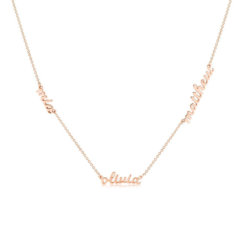 14k Gold Script Nameplate Necklace - 3 Names