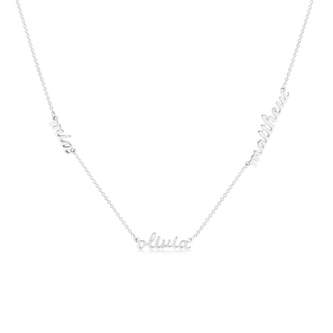 Sterling Silver Script Nameplate Necklace - 3 Names