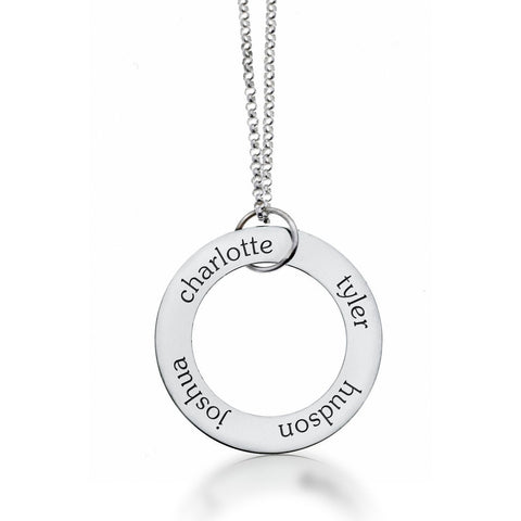 Sterling Silver Circle Pendant 4 Name