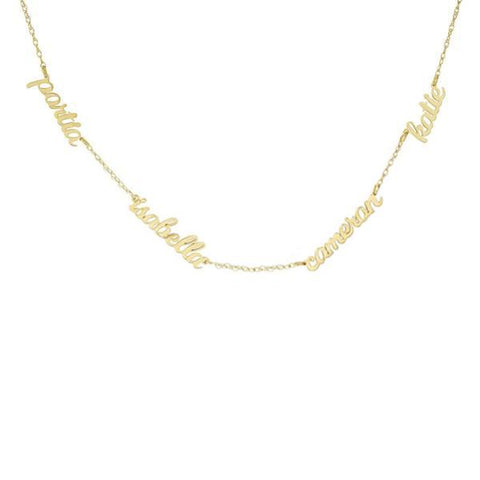 14k Gold Script Nameplate Necklace - 4 Names
