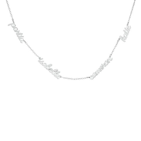 Image of Sterling Silver Script Nameplate Necklace - 4 Names