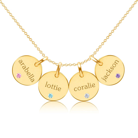 Gold Circle Necklace - 4 Names With Birthstones
