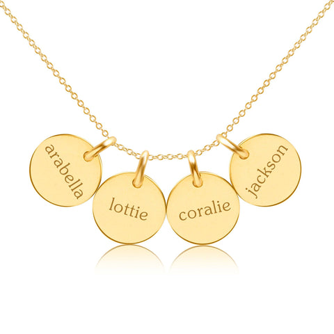 14K Gold Circle Necklace - 4 Names