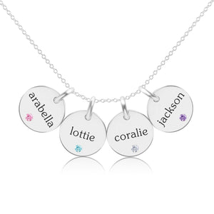 Sterling Silver Circle Necklace - 4 Names With Birthstones