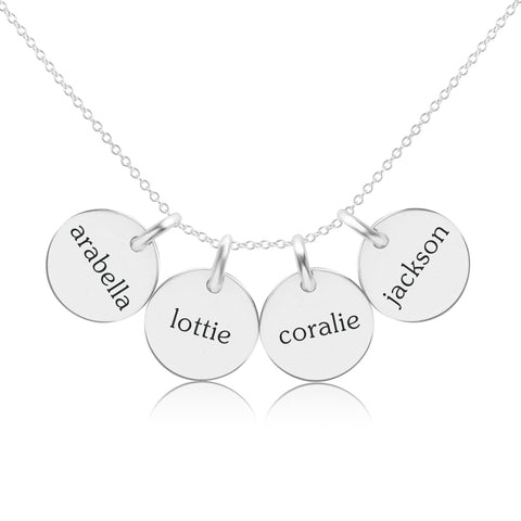 Image of Sterling Silver Circle Necklace - 4 Names