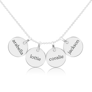 Sterling Silver Circle Necklace - 4 Names