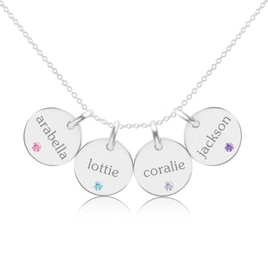 14K Gold Circle Necklace - 4 Names With Birthstones