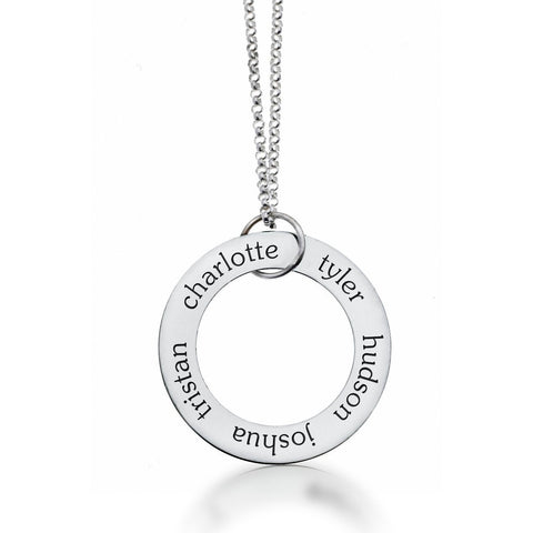 Sterling Silver Circle Pendant 5 Name