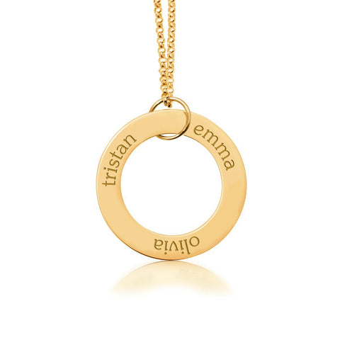 14k Gold Circle Pendant 3 Names - tinytags