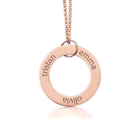 Image of 14k Gold Circle Pendant - 3 Names