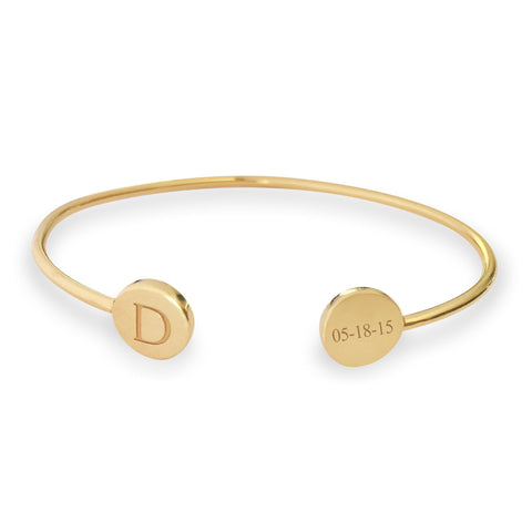 Gold Signet Bangle - tinytags