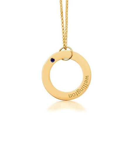 Gold Circle Pendant - 1 Name With Birthstone