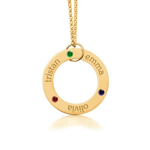 14k Gold Circle Pendant - 3 Names With Birthstones