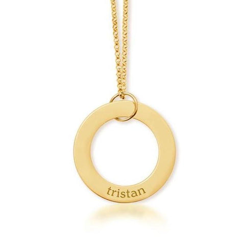 14K Gold Circle Pendant - 1 Name