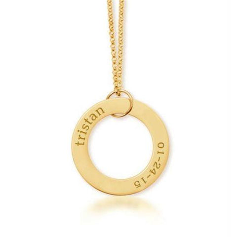 Gold Circle Pendant Name & Birthday - tinytags