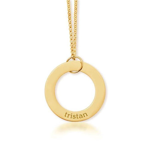 Gold Circle Pendant - 1 Name
