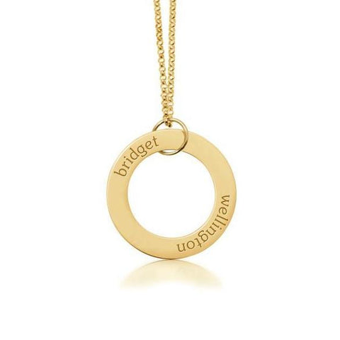 Image of Gold Circle Pendant 2 Names - tinytags