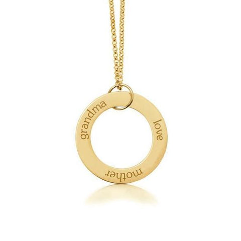 Gold Circle Pendant - Grandma, Mother, Love