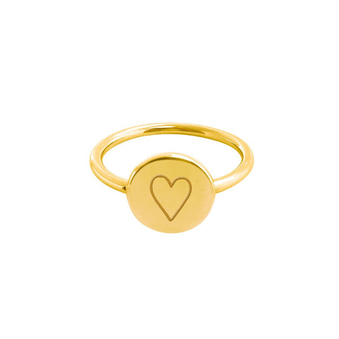 Image of 14k Gold Perfectly Imperfect Heart Signet Ring