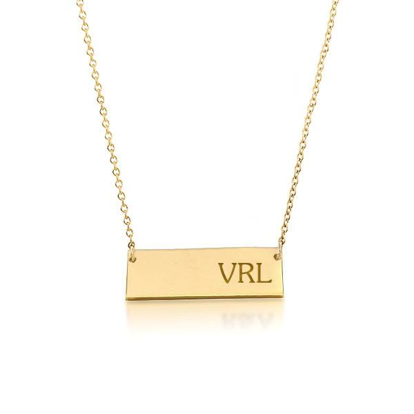 14k Gold Bar Monogram Necklace