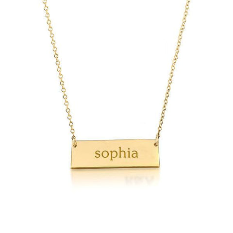 Image of 14k Gold Bar Name Necklace