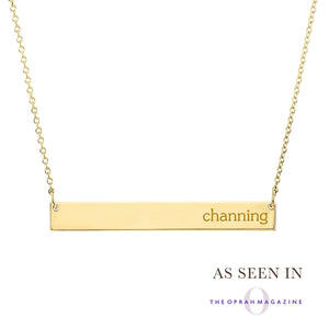 14K Gold Skinny Bar Necklace - Personalize