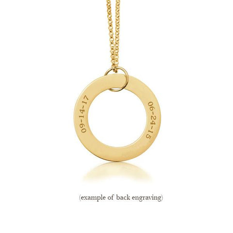 14k Gold Circle Pendant - 2 Names