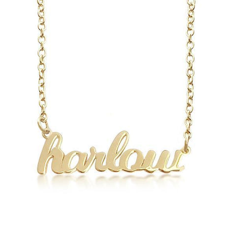 Image of Gold Script Nameplate Necklace