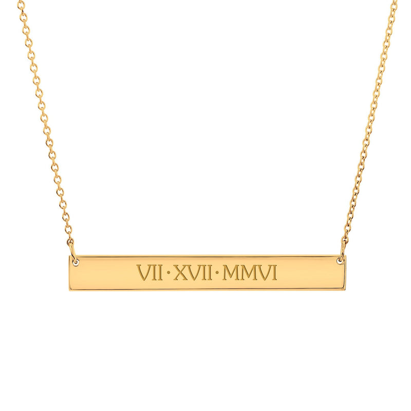 Gold Skinny Bar Necklace - Uppercase
