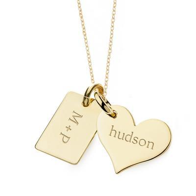 14k Gold Heart & Mini Dog Tag Necklace