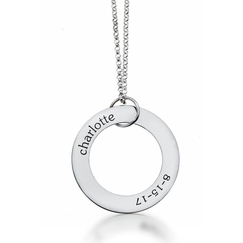 Sterling Silver Circle Pendant - Name & Birthday