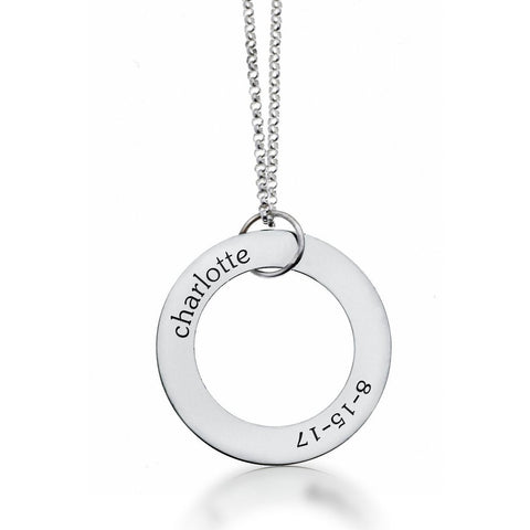 Image of Sterling Silver Circle Pendant - Name & Birthday