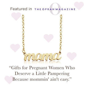 Gold Script mama Nameplate Necklace