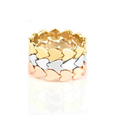 Image of 14k Gold Perfectly Imperfect Heart Band Set