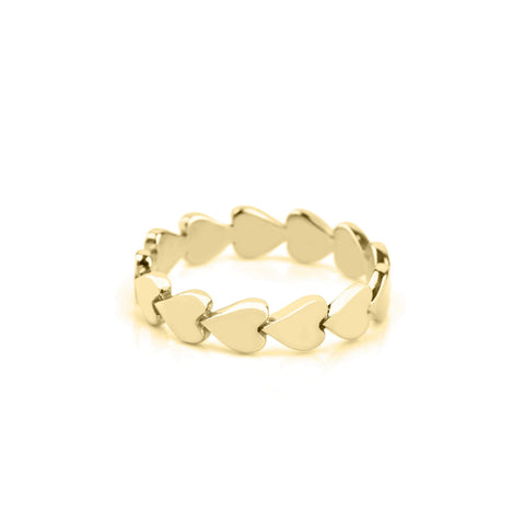 14k Gold Perfectly Imperfect Heart Band Set