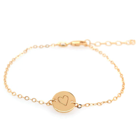 Image of 14k Gold Perfectly Imperfect Heart Chain Bracelet