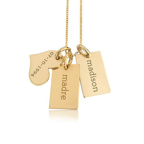 Image of Gold Mini Dog Charms & Heart - tinytags
