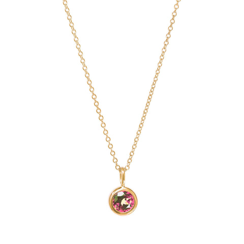 October Birthstone Necklace - Pink Tourmaline
