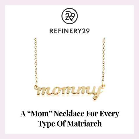 Gold Script mommy Nameplate Necklace